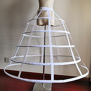 cheap Historical & Vintage Costumes-Bride Classic Lolita 1950s Layered Dress Petticoat Hoop Skirt Crinoline Women's Girls' Cotton Costume Black / White Vintage Cosplay Wedding Party Princess