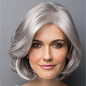 cheap Synthetic Trendy Wigs-Synthetic Wig Bangs Curly Bob Side Part Wig Short Grey Synthetic Hair 14 inch Women's Fashionable Design Classic Women Gray