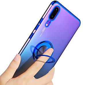 cheap Huawei Case-Case For Huawei Huawei P20 / Huawei P20 Pro / Huawei P20 lite Plating / Ring Holder / Transparent Back Cover Solid Colored Soft TPU