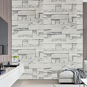 cheap Wall Stickers-Wallpaper Peel and Stick 3D Decorative Stone Brick Wood Grain Vinyl Wall Sticker Waterproof Self-Adhesive Shelf Paper for Kitchen Bedroom Home Decor Wall Art Murals