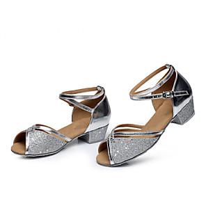 cheap Latin Shoes-Women's Dance Shoes Paillette Latin Shoes Heel Low Heel Customizable Silver / Fuchsia / Blue / Leather / Practice / EU40