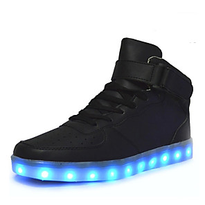cheap Kids' LED Shoes-Men's Comfort Shoes Light Up Shoes Fall / Winter Sporty / Casual Daily Outdoor Sneakers Walking Shoes PU Breathable Wear Proof White / Black / Red