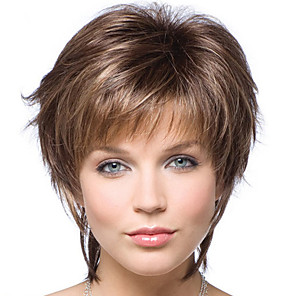 cheap Synthetic Trendy Wigs-Synthetic Wig Bangs Curly Side Part Wig Short Brown / Burgundy Synthetic Hair 14 inch Women's Fashionable Design Women Synthetic Brown