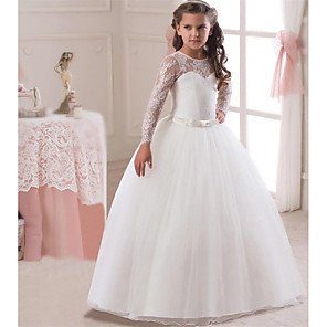 cheap Movie & TV Theme Costumes-Princess Long Length Wedding / First Communion Flower Girl Dresses - Lace / Satin / Tulle Long Sleeve Jewel Neck with Lace / Belt