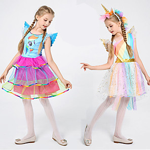 cheap Movie & TV Theme Costumes-Cosplay Dress Cosplay Costume Flower Girl Dress Kid's Girls' A-Line Slip Dresses Cosplay Christmas Halloween Children's Day Festival / Holiday Tulle Polyster Blue / Pink Carnival Costumes Unicorn