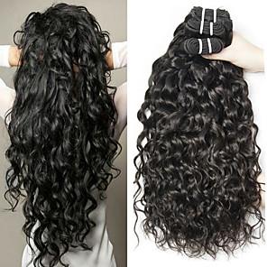 cheap Colored Hair Weaves-3 Bundles Hair Weaves Malaysian Hair Water Wave Human Hair Extensions Remy Human Hair 100% Remy Hair Weave Bundles 300 g Natural Color Hair Weaves / Hair Bulk Human Hair Extensions 8-28 inch Natural