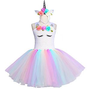cheap Movie & TV Theme Costumes-Kids Unicorn Tutu Dress Knee-Length Pastel Rainbow Children Halloween Unicorn Headband Set