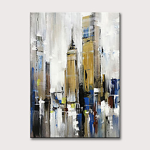 cheap Landscape Paintings-Oil Painting Hand Painted - Abstract Vintage Modern Rolled Canvas