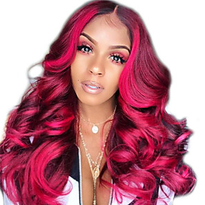 cheap Synthetic Trendy Wigs-Synthetic Wig kinky Straight Middle Part Wig Long Dark Red Synthetic Hair 12 inch Women's Women Red