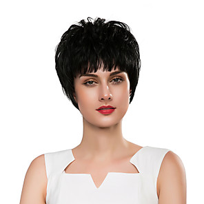 cheap Synthetic Trendy Wigs-Synthetic Wig Curly Natural Wave Pixie Cut Wig Short Natural Black Synthetic Hair 8 inch Women's Synthetic New Comfortable Black / African American Wig / Doll Wig / For Black Women
