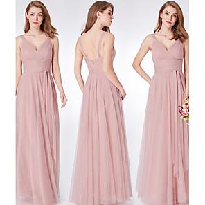 cheap Bridesmaid Dresses-Sheath / Column V Neck Floor Length Tulle Bridesmaid Dress with Ruching