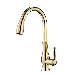 cheap Kitchen Faucets-Single Handle One Hole Electroplated Pull-out / ­Pull-down Vessel / Brass Kitchen Faucet Tap High Arc