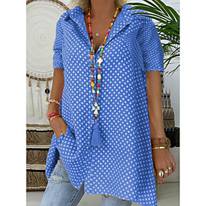 cheap Bathroom Gadgets-Women's Plus Size Shirt Polka Dot Print Tops Shirt Collar Blue Red Yellow