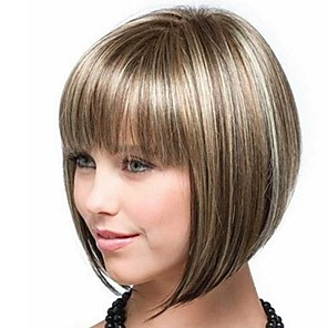 cheap Synthetic Trendy Wigs-Synthetic Wig Bangs kinky Straight Bob Free Part Wig Blonde Short Light golden Synthetic Hair 14 inch Women's Fashionable Design Smooth Women Blonde