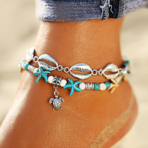 cheap Hair Jewelry-Ankle Bracelet feet jewelry Bohemian Trendy Women's Body Jewelry For Daily Holiday Double Layered Turquoise Acrylic Alloy Turtle Starfish Silver 1pc