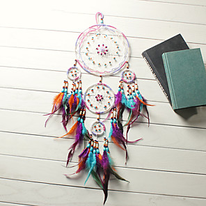 cheap Dreamcatcher-Traditional Handicrafts Dream Catcher Hanging Feathers Ornament With Five Rings