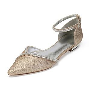 cheap Wedding Shoes-Women's Satin / Synthetics Spring & Summer Vintage / British Wedding Shoes Flat Heel Pointed Toe Rhinestone / Sparkling Glitter Dark Blue / Champagne / Ivory / Party & Evening