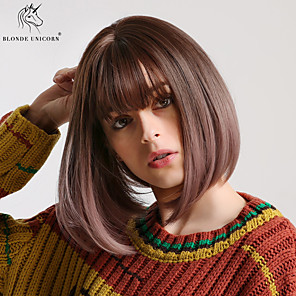 cheap Synthetic Lace Wigs-Synthetic Wig kinky Straight Natural Straight Bob Neat Bang Wig Medium Length Black / Purple Synthetic Hair 12 inch Women's Fashionable Design Synthetic Lovely Black Purple BLONDE UNICORN