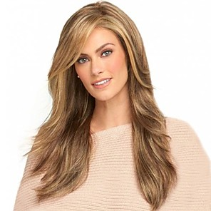 cheap Synthetic Trendy Wigs-Synthetic Wig Bangs kinky Straight Side Part Wig Blonde Long Light golden Synthetic Hair 26 inch Women's Fashionable Design Smooth Women Blonde