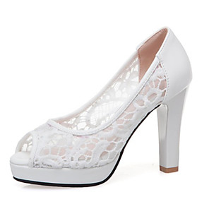 cheap Wedding Shoes-Women's Lace / PU(Polyurethane) Spring & Summer Wedding Shoes Chunky Heel Peep Toe White / Black / Pink / Party & Evening