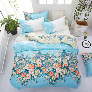 cheap Blankets & Throws-Duvet Cover Sets Floral Polyster Printed 4 PieceBedding Sets