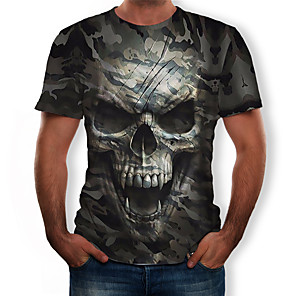 cheap Outdoor IP Network Cameras-Men's T-shirt 3D Graphic Skull Print Tops Round Neck Army Green / Camo / Camouflage