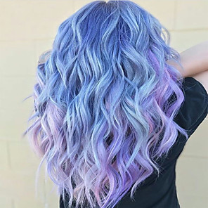 cheap Synthetic Trendy Wigs-Costume Accessories Synthetic Wig Bangs Curly Water Wave Middle Part Neat Bang Wig Long Purple / Blue Synthetic Hair 24 inch Women's Party Synthetic Ombre Hair Blue Purple
