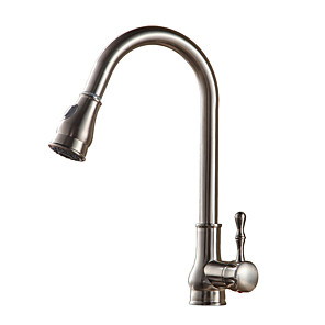 cheap Kitchen Faucets-Kitchen faucet - Single Handle One Hole Oil-rubbed Bronze / Nickel Brushed / Electroplated Pull-out / Pull-down / Tall / High Arc Vessel