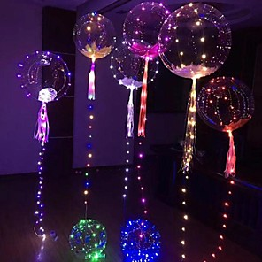 cheap LED String Lights-4pcs Luminous LED Balloon Transparent Round Bubble Birthday Party Wedding Decoration LED Bubble Balloon Baby Kids Toy(Batteries Not Including)