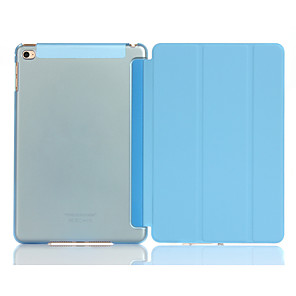 cheap iPad case-Case For Apple iPad Mini 4 Shockproof / with Stand / Translucent Full Body Cases Solid Colored Hard PU Leather