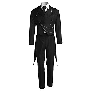 cheap Anime Costumes-Inspired by Black Butler Sebastian Michaelis Anime Cosplay Costumes Japanese Cosplay Suits Solid Colored Long Sleeve Vest Shirt Pants For Men's Women's / Tuxedo / Tie / Necklace / Gloves / Badge