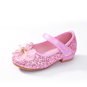 cheap Movie & TV Theme Costumes-Girls' Ballerina / Flower Girl Shoes / Children's Day PU Flats Toddler(9m-4ys) / Little Kids(4-7ys) Bowknot Pink / Gold / Silver Spring / Fall / Wedding / Party & Evening / Wedding / Rubber