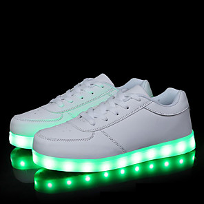 cheap Kids' LED Shoes-Women's Sneakers Flat Heel Round Toe Sporty Comfort Daily Outdoor LED Solid Colored PU Walking Shoes Summer White / Black