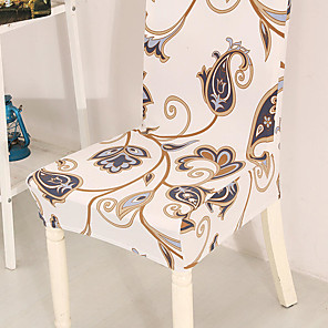 cheap Chair Cover-Beige Floral Print Very Soft Chair Cover Stretch Removable Washable Dining Room Chair Protector Slipcovers Home Decor Dining Room Seat Cover