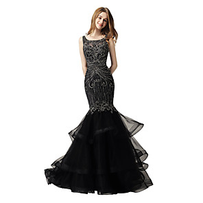 cheap Kitchen Faucets-Mermaid / Trumpet Luxurious Sparkle Prom Formal Evening Dress Jewel Neck Sleeveless Court Train Lace Tulle with Beading Tier 2020