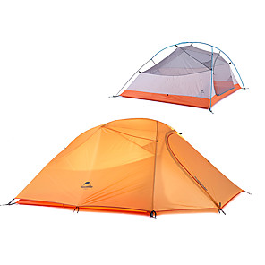 cheap Tents, Canopies & Shelters-Naturehike 3 person Family Tent Outdoor Windproof Rain Waterproof Double Layered Poled Camping Tent 2000-3000 mm for Camping / Hiking / Caving Traveling Polyster 215+85*180*110 cm