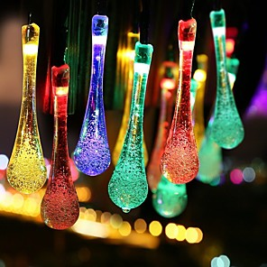 cheap LED String Lights-Solar Crystal Water Drop Waterproof String Lights 6M20Ft 30 LEDs with Multi Color  White  Warm White Christmas Fairy LightsWaterproof Lights for GardenPatioYardHomeParties Decorations 1 set