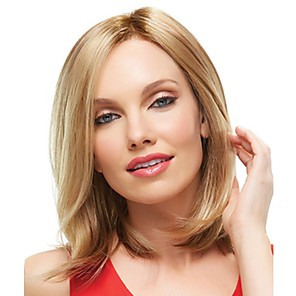 cheap Synthetic Lace Wigs-Synthetic Wig kinky Straight Natural Straight Side Part Wig Blonde Medium Length Light golden Synthetic Hair 14 inch Women's Fashionable Design Classic Women Blonde / Ombre Hair