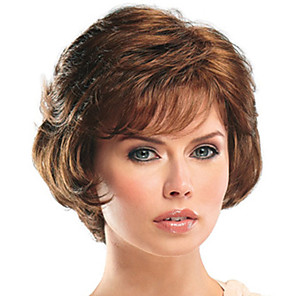 cheap Synthetic Trendy Wigs-Synthetic Wig Bangs Curly Side Part Wig Short Brown / Burgundy Synthetic Hair 12 inch Women's Fashionable Design Women Easy dressing Brown