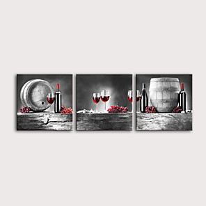 cheap Wall Stickers-Print Rolled Canvas Prints Stretched Canvas Prints - Vintage Food & Beverage Modern Three Panels Art Prints