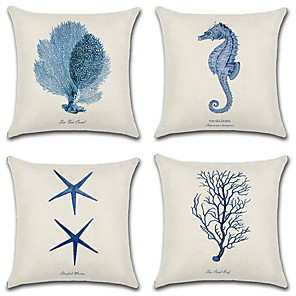 cheap Pillow Covers-1 pcs Cotton / Linen Pillow Cover, 3D Print Nautical Fashion Christmas