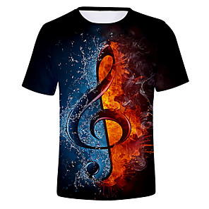 cheap Bathroom Sink Faucets-Men's Graphic Flame Print T-shirt Daily Round Neck White / Black / Purple / Gold / Beige / Gray / Summer / Short Sleeve