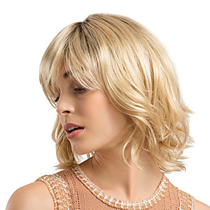 cheap Synthetic Trendy Wigs-Synthetic Wig Curly kinky Straight Bob Neat Bang With Bangs Wig Blonde Medium Length Strawberry Blonde / Light Blonde Synthetic Hair 12 inch Women's Synthetic Natural Hairline Middle Part Blonde
