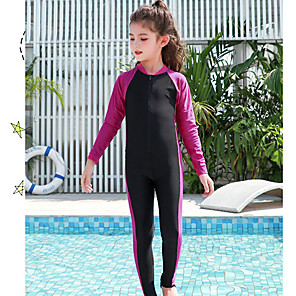 cheap Wetsuits, Diving Suits & Rash Guard Shirts-JIAAO Boys' Girls' Rash Guard Dive Skin Suit Diving Suit Thermal / Warm Full Body Front Zip - Swimming Diving Patchwork Summer / High Elasticity / Kid's