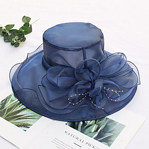 cheap Party Hats-Tulle / Organza Hats / Headwear with Faux Pearl / Flower / Trim 1 Piece Wedding / Tea Party / Outdoor Headpiece