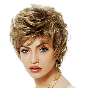 cheap Synthetic Trendy Wigs-Synthetic Wig Bangs Curly Free Part Wig Blonde Short Light golden Synthetic Hair 12 inch Women's Cute Fashionable Design Women Blonde