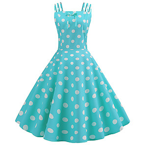 cheap Historical & Vintage Costumes-Audrey Hepburn Country Girl Retro Vintage 1950s Wasp-Waisted Rockabilly Dress JSK / Jumper Skirt Women's Costume Black / Sky Blue / Blue Vintage Cosplay Party Daily Homecoming Sleeveless Knee Length