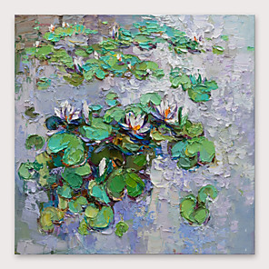 cheap Floral/Botanical Paintings-IARTS®Hand Painted Lotus Oil Painting with Stretched Frame For Home Decoration