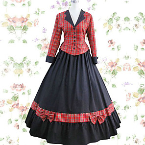 cheap Historical & Vintage Costumes-Vintage Princess Lolita Rococo Dress Cosplay Costume Female Japanese Cosplay Costumes Black / Red Patchwork Long Sleeve Maxi Long Length / Victorian