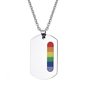 cheap Costumes Jewelry-Pendant Necklace Rainbow Steel Stainless For LGBT Pride Cosplay Men's Women's Costume Jewelry Fashion Jewelry
